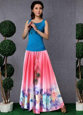 new latest Pink designer printed skirts @ Rs1235.00