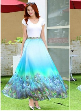 New Latest Sky Blue Colour Digital Printed Women's Fancy Skirt@ Rs.1235.00