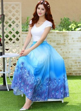 New Sky Blue Colour Digital Printed Fancy Faux Georgette Skirt @ Rs1235.00