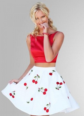 Fabboom New Latest Digital Printed White & Red Fancy Top & Skirt@ Rs.1175.00
