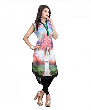 Multicolor Georgette Printed Party Wear Umbrella Up and Down Style Stitched Designer Kurti For Women @ Rs803.00