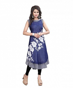 Navy Blue and White Georgette Printed Party Wear Umbrella Style Stitched Designer Kurti For Women @ Rs679.00