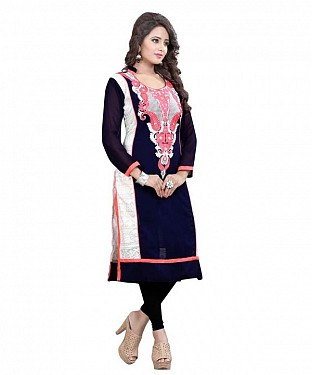 Blue and White Georgette Embroidered Party Wear A-line Style Stitched Designer Kurti For Women @ Rs926.00