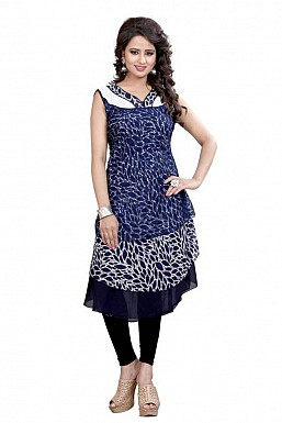 Navy Blue and White Georgette Printed Party Wear Umbrella Style Stitched Designer Kurti For Women @ Rs741.00
