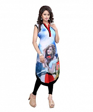 Sky Blue and Pink Georgette Printed Party Wear Umbrella Style Stitched Designer Kurti For Women @ Rs803.00