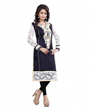 Navy Blue and White Chanderi Embroidered Party Wear A-line Style Stitched Designer Kurti For Women @ Rs741.00