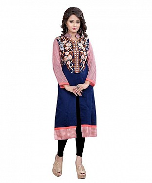 Navy Blue and Pink Chanderi Embroidered Party Wear A-line Style Stitched Designer Kurti For Women @ Rs803.00