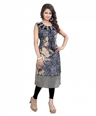 Grey and Beige Georgette Printed Party Wear Umbrella Style Stitched Designer Kurti For Women @ Rs679.00