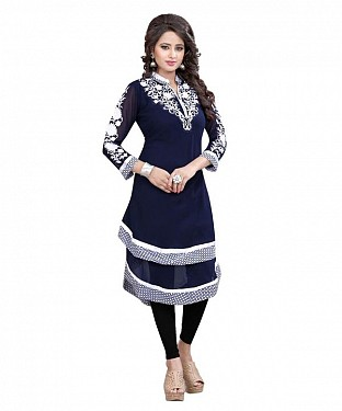 Navy Blue and White Georgette Embroidered Party Wear Umbrella Style Stitched Designer Kurti For Women Buy Rs.864.00