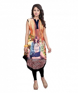 Multicolor Georgette Printed Party Wear Umbrella Style Stitched Designer Kurti For Women@ Rs.803.00