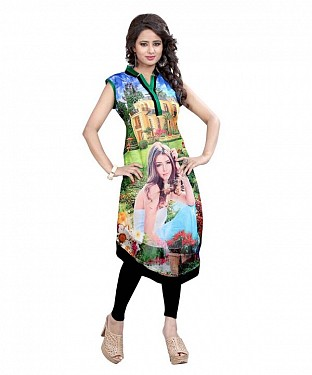 Multicolor Georgette Printed Party Wear Umbrella Style Stitched Designer Kurti For Women @ Rs803.00