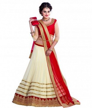 White Net Embroidered Unstiched Lehenga choli Dupatta Set @ Rs1173.00