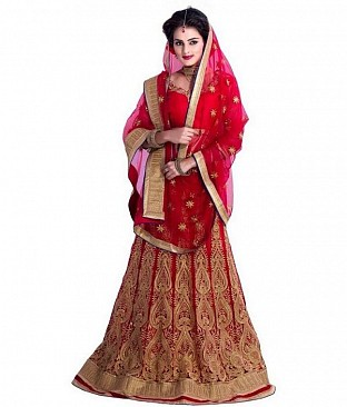 Red Net Embroidered Unstiched Lehenga Choli And Dupatta set@ Rs.2100.00