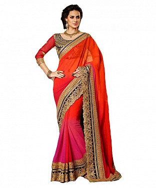 Women Orange color Georgette saree @ Rs866.00