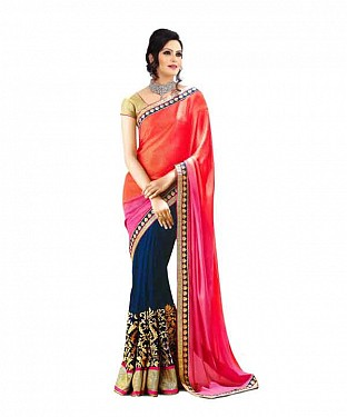Women Pink color Chiffon saree@ Rs.767.00