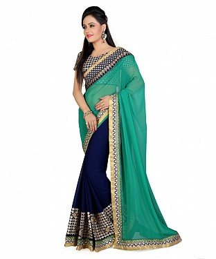 Women Blue color Georgette saree @ Rs927.00