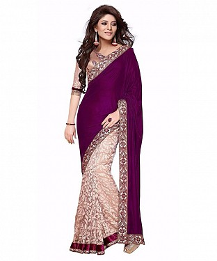 Women Maroon color Georgette and brasso saree @ Rs668.00