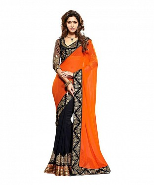 Women Orange color Georgette saree @ Rs526.00