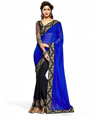 Women Blue color Georgette saree @ Rs526.00
