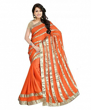 Women Orange color Chiffon saree@ Rs.711.00