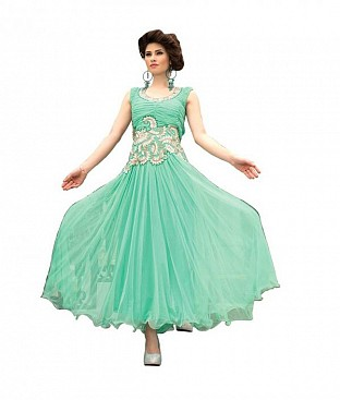Turquoise Soft Net Embroidered Partywear Gown @ Rs1267.00