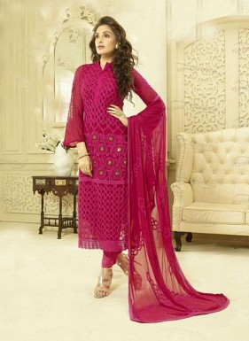 Designer Magenta Chiffon Dress Material @ Rs988.00