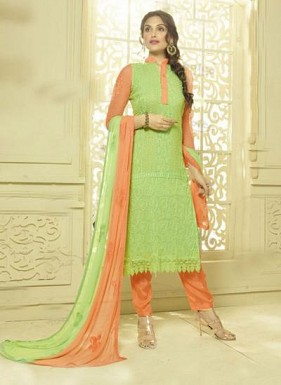 Lime Green & Orange Designer Dress Material @ Rs1606.00
