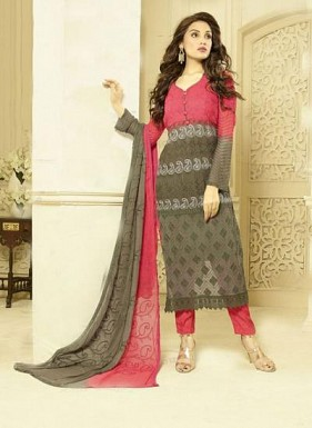 New Gray & Pink Designer Dress Material @ Rs1606.00