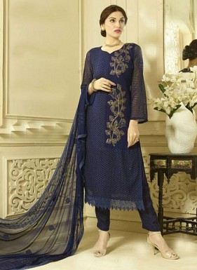 New Dark Blue Designer Dress Material @ Rs1606.00
