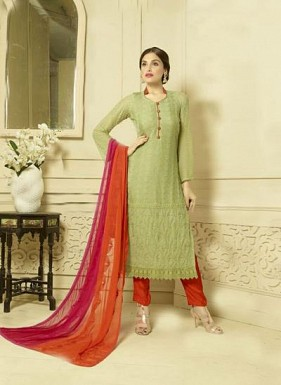 New Lime Green Designer Dress Material Buy Rs.1606.00