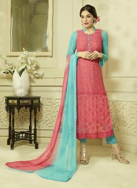 New Pink & Sky Designer Dress Material @ Rs1606.00
