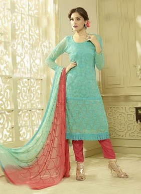 New Sky & Pink Designer Dress Material Buy Rs.1606.00