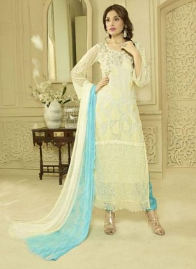 New White & Sky Designer Dress Material@ Rs.1606.00