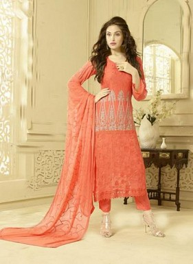 New Peach Designer Dress Material@ Rs.1606.00