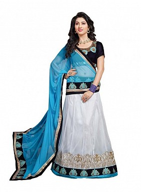 Multicolor Net Embroidered Unstiched Lehenga Choli And Dupatta set@ Rs.2471.00