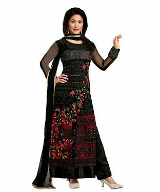 Black And Red Georgette Heavy Embroidered Party Wear Unstitched Dress @ Rs1050.00