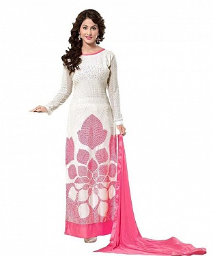 Off White And Pink Georgette Heavy Embroidered Party Wear Unstitched Dress @ Rs1112.00
