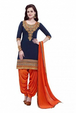 Panchi embroidered Cotton dark blue dress materials @ Rs555.00