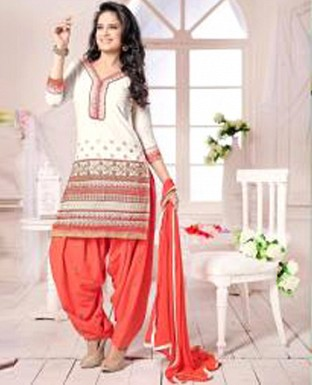 Latest orenge & white colour patiyala suit @ Rs988.00