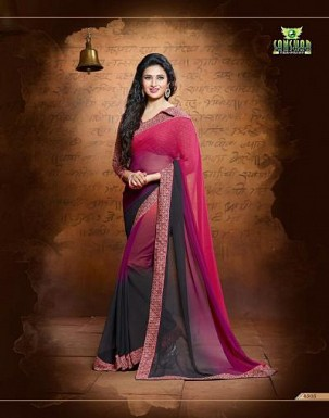 Sanskar red black georgette saree @ Rs1175.00