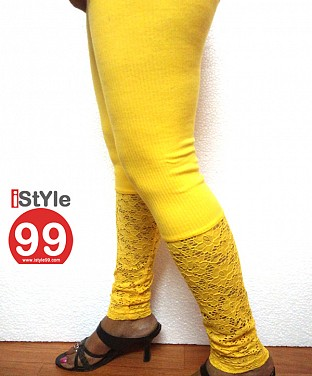 Stretchable Lace/Net bottom leggings - Yellow @ Rs360.00