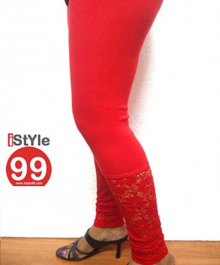 Stretchable Lace/Net bottom leggings - Red @ Rs360.00