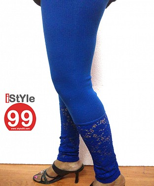 Stretchable Lace/Net bottom leggings - Blue @ Rs360.00