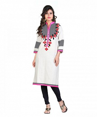 Khadi Cotton Hand Embroidery White Kurti @ Rs420.00