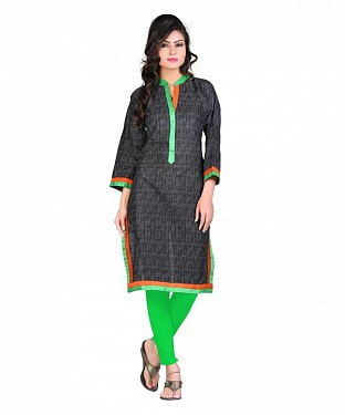 Cambric Cotton Printed Black Kurti @ Rs420.00