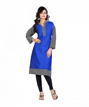 Cotton Printed Blue Kurti @ Rs420.00