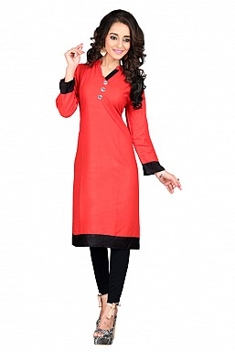 Red Heavy Rayon Cotton Plain Casual Kurti @ Rs494.00