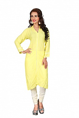 Yellow Heavy Rayon Cotton Plain Casual Kurti @ Rs494.00