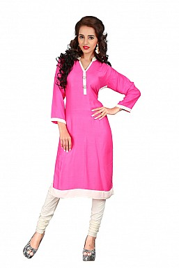 Pink Heavy Rayon Cotton Plain Casual Kurti @ Rs494.00