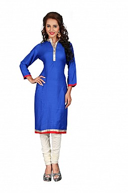 Blue Heavy Rayon Cotton Plain Casual Kurti @ Rs494.00